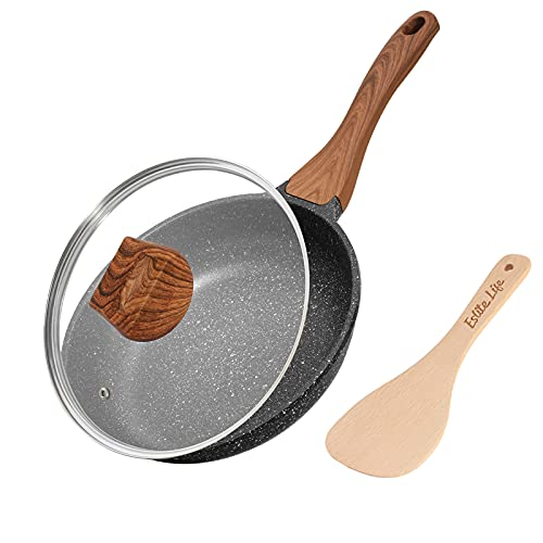 ESLITE LIFE 8 Inch Frying Pan with Lid Nonstick Induction Skillet Small Egg Omelette Maker Pan with Granite Coating