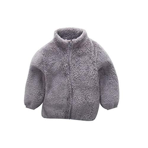 SOIMISS Mädchen Fleece Jacke Polar Fleece Full Zip Jacke Langarm Jacke Sweatshirt Outwear für Federn Herbst Winter Grau 100Cm