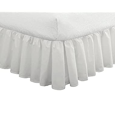 "Fresh Ideas Bedding Ruffled Bed Skirt, Classic 14"" drop length, Gathered Styling, Queen, White"