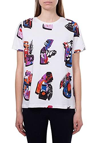 Desigual BY Lacroix – Camiseta de mujer de algodón estampado blanco L