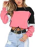 Angashion Womens Sweatshirt-Long Sleeve Drawstring Hem Color...