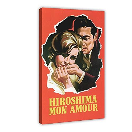 Hiroshima Mon Amour Vintage Old Movie 1 Poster su tela, decorazione da parete per soggiorno, camera da letto, cornice: 60 x 90 cm