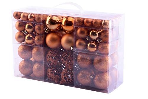 MC Trend 100 Weihnachtskugeln matt glänzend Kunststoff Ø bis 6 cm Kugeln Christbaumschmuck Baumschmuck Weihnachten in der Farbe Bronze (Bronze)