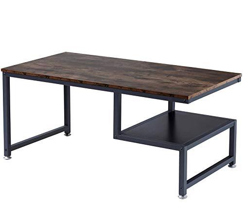 BOTONE Moderner Wohnzimmertisch, Couchtisch in rustikaler Holz-Optik mit ausgefallener zweiter Ablage und stabilem schwarzen Metallrahmen; (100x50x50cm)