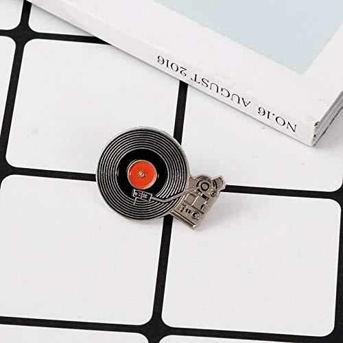 Alfinetes de toca-discos de vinil retrô vintage com broches de lapela, presente para amante de música nostálgica clássica