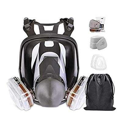 RoofWorld 15 in 1 Gas Mask Full Face Facepiece Respirator Same for Gas Respirator with Carbon Filters Painting by Roof world
