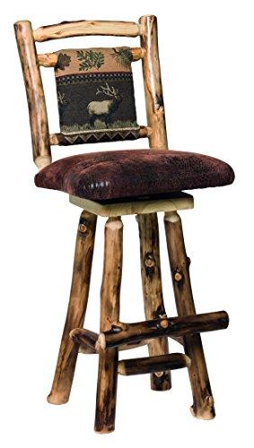 "Aspen Log Swivel 24"" Barstools with Fabric Back - Set of 2 - Leafy Fabric"