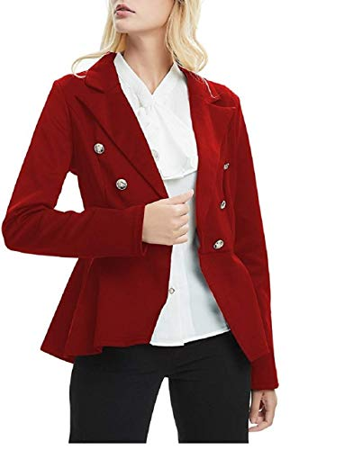 MingHaoyu Womens Blazer Work Peplum Double Breasted Office Jacket Ringmaster Costume Draped Notch,Red,XL