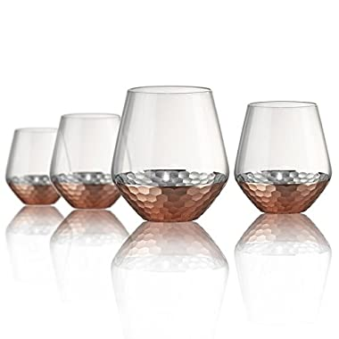 Artland Coppertino Hammer Double Old Fashion Glasses, Set of 4, 15 oz, Clear