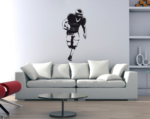 PrimeStick Wandtattoo Wandaufkleber American Football #186C schwarz 55x120cm (RAL9005)