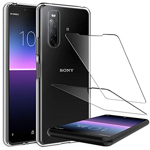LK Kompatibel mit Sony Xperia 10 II Hülle mit 2 Stück Displayschutz Schutzfolie, Klar Schutzhülle Transparent TPU Silikon Handyhülle Durchsichtige Case Cover, Crystal Clear