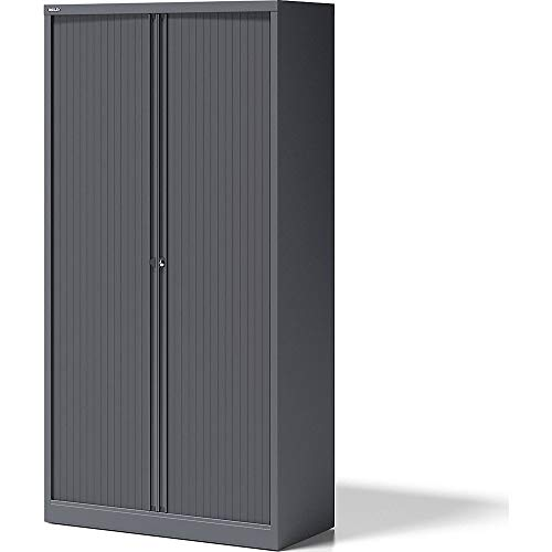 BISLEY Rollladenschrank Essentials, mit 4 Fachböden für 5 Ordnerhöhen, Metall, 9634 Rollladen Anthrazit, Korpus Anthrazitgrau, 47 x 100 x 198 cm