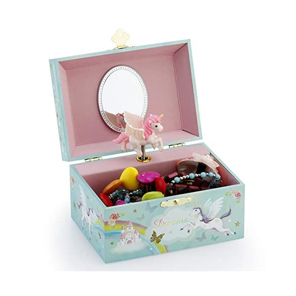 RR ROUND RICH DESIGN Kids Musical Jewelry Box for Girls and Jewelry Set with Magical Unicorn - Blue Danube Tune Pink 9