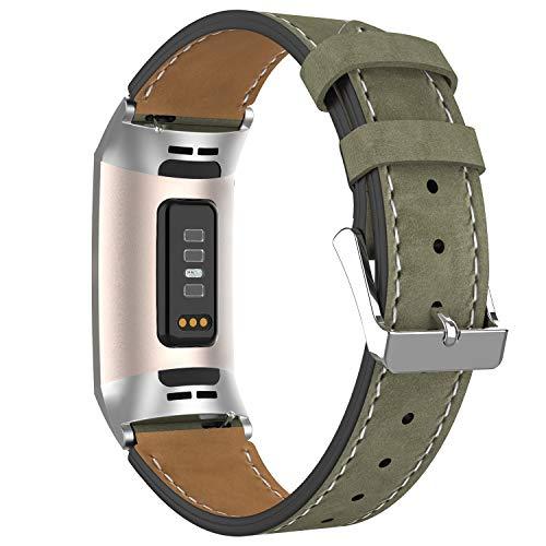 Adepoy für Fitbit Charge 3 Armband Leder, Echtes Klassisches Einstellbares Lederarmband Kompatibel mit Fitbit Charge 3 und Charge 3 Sonderedition (Hellmattgrün)