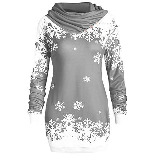 YWLINK Mode Damen Pulli Pullover Rollkragen Frauen Weihnachten Schneeflocke Gedruckte Tops Lang Sweatshirt(XXL,Grau)