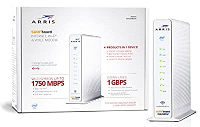 ARRIS Surfboard SVG2482AC DOCSIS 3.0 Cable Modem & AC1750 Dual-Band Wi-Fi Router with Voice, Certified for Xfinity Internet & Voice (White)
