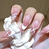 Feilisa Women's Glossy Stiletto Fake Nails French Press on False Nails-Tips Daily Office Finger Wear Nails for Women