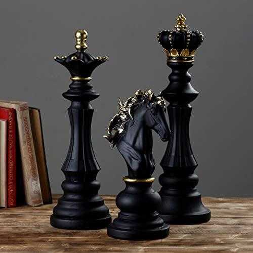 Juego de ajedrez, juego de ajedrez, decoración para la casa retro piezas de ajedrez de resina, juegos de mesa, figuras de ajedrez internacionales Chessman adorno de mesa 40 cm negro