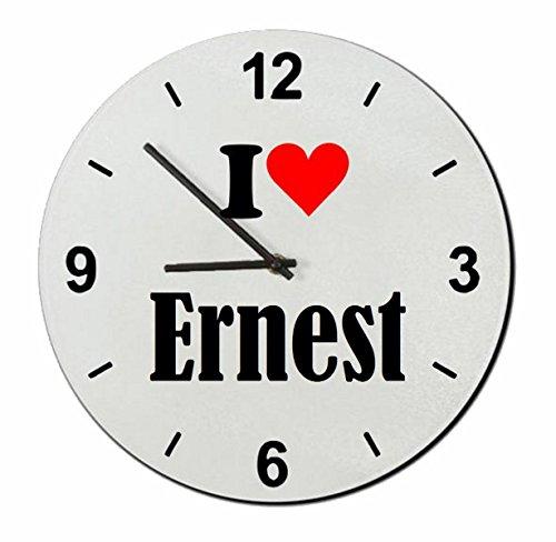 Druckerlebnis24 Glasuhr I Love Ernest eine tolle Geschenkidee die von Herzen kommt| Wanduhr| Geschenktipp: Weihnachten Jahrestag Geburtstag Lieblingsmensch