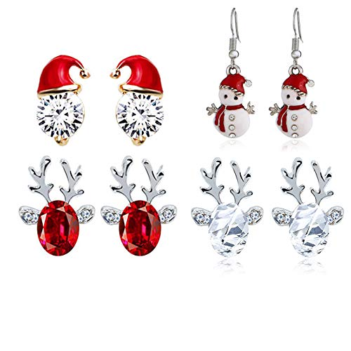 DTShow 4 Pair Christmas Earrings, Christmas Snowman, Christmas Hat Rhinestone and Reindeer Faceted Crystal Christmas Stud Earrings ( White and Red Cool Jewellery Gift for Women