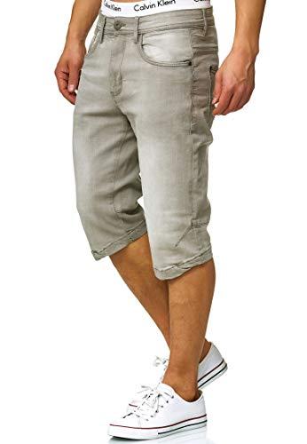 Indicode Herren Jaspar Jeans Shorts mit 5 Taschen aus 98% Baumwolle Knielang | Kurze Denim Stretch Sommer Hose Used Look Washed Regular Fit Men Short Pants Freizeithose f. Männer Lt Grey S