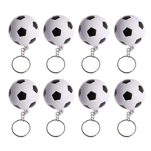 KESYOO 9Pcs Fußball Keychain PU Fußball Ball Schlüsselring Anhänger Kinder Hand Drücken Fußball Schlüsselanhänger Sport Welt Tasse Keychain Souvenir Schwarz Weiß