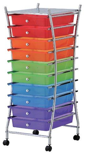 M-Home | Desserte à Roulettes / 10 Tiroirs | Métal / Tiroirs Multicolores | Chromé / Rouge+Orange+Vert+Bleu+Violet | 39,5 x 32,5 x 84 cm | INX404