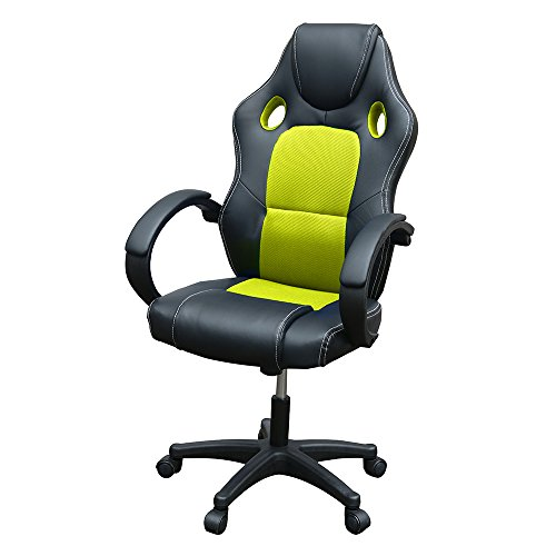 Gaming Chair, Racing Style Office High Back Ergonomic Conference Work Chair Reclining Computer PC Swivel Desk Chair with Lumbar Support&Adjustable Task Gas lift PU Leather (Green)