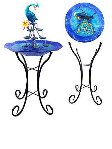 Comfy Hour 34' Blue Metal Art Peacock Water Fountain Tabletop Garden Decor