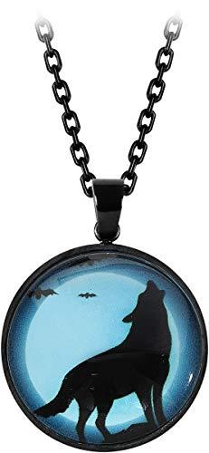 etNox Heulender Wolf Frauen Halskette schwarz Zinklegierung Everyday Goth, Fashion & Style, Gothic