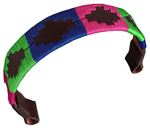 CARLOS DIAZ Designer Echt Leren Geborduurde Polo Paardenhoofdstel Frondeel (Vol (Paard) 16 inches)