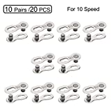 QKURT 10 Pairs 20pcs Bicycle Missing Link for 10 Speed Chain, Professional Reusable Bicycle Chain Link Connector, Steel Bike Chain Link