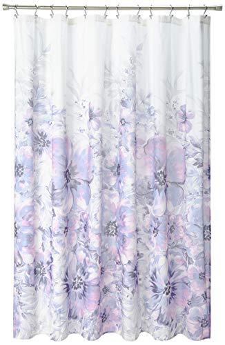 Madison Park 100% Cotton Printed Modern Cute Bathroom Shower Curtain, 72x72, Lilac