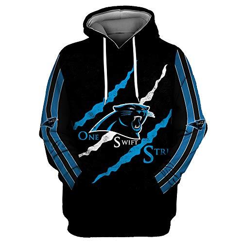 Men's Long Sleeve 3D Digital Print Football Team Carolina Panthers Couple's Pullover Hoodies(L,Black)
