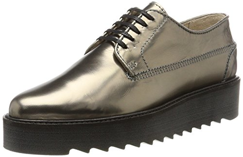 Marc O'Polo Damen Lace Up Shoe 70814243401102 Oxfords, Silber (Gunmetal), 38 EU