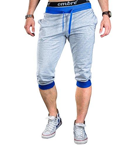 BetterStylz Yuba Basic korte joggingbroek sweatshort bermuda contrast fitnessbroek diverse Kleuren (S-XL) (XL, grijs/royal)