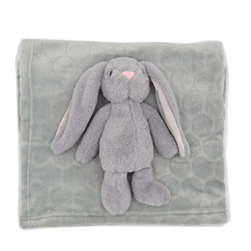 Kuscheldecke mit Spielzeuggeschenk für Babys - Weiche Kuscheldecke für Babys und Kaninchen ab 0 Monaten - Maße: 100 x 75 cm, Kaninchenplüschtier AKK BABY (grey R)