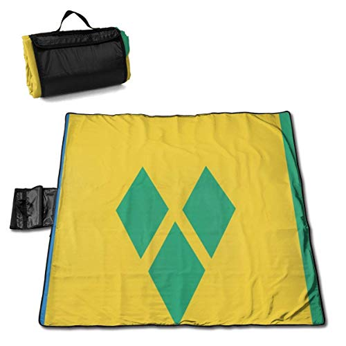 GuyIvan Beach Picnic Blanket Flag of Saint Vincent and The Grenadines Weather-Proof Outdoor Handy Mat Foldable Tote RV Quick Dry Bag