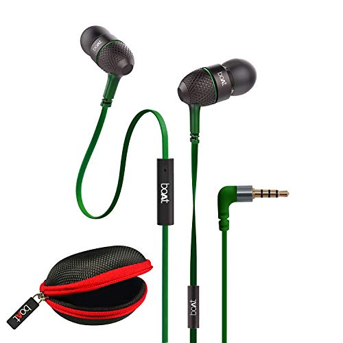 boAt BassHeads 225 in-Ear Wired Earphones with Super Extra Bass, Metallic Earbuds, Tangle-Free Cable, Gold Plated Angled Jack and Carry Case (Forest Green)