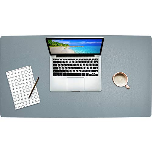 """Getfitsoo Leather Desk Pad, Laptop Desk Mat, Waterproof Desk Writing Pad at Office and Home, Super Comfortable Surface Leather Mat ,31.5""""x15.7"""" Perfect Size Leather Desk Blotter (Light Blue)"""