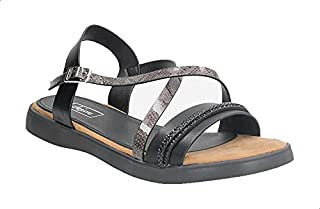 Dejavu Faux-Leather Criss-Cross Buckle Ankle Strap Flat Sandals For Women
