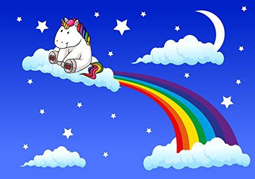 wandmotiv24 Fototapete Kinderzimmer Regenbogen-Einhorn M 250 x 175 cm - 5 Teile Fototapeten, Wandbild, Motivtapeten, Vlies-Tapeten Fantasy, Mond, Nachthimmel M0434