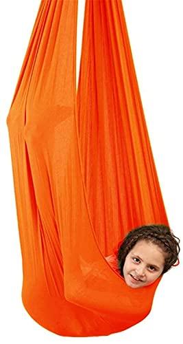 Kcanamgal Hamaca para Exteriores para Adultos y niños, portátil, Hamaca para Niños Swing de Terapia, para Niños de Más de 3 años Hamaca de Yoga Aérea,Naranja,150x280cm