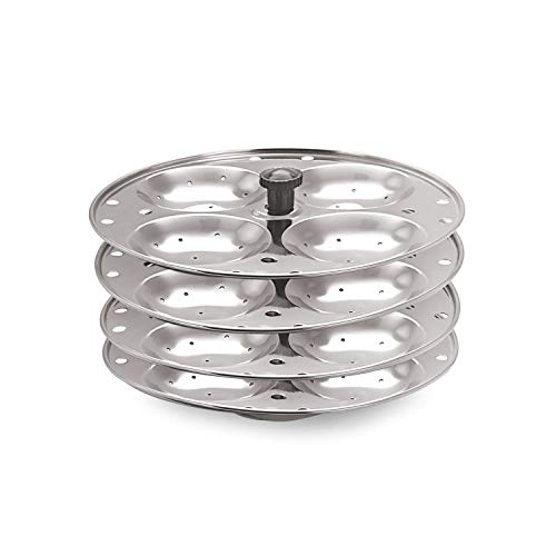 Eleven Rings 4 Plates Stainless Steel Idli Stand/Idli Maker Makes 16 Idlis at Once.