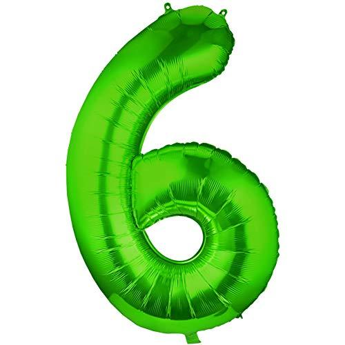 Siumir Globo de Número Verde Globo Número Grande Número 6 Papel De Aluminio Globo Decoración de Fiestas de Cumpleaños