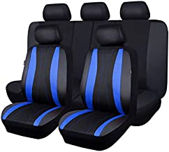 Flying Banner car seat Covers Full Set Faux Leather Mesh Breathable Man Lady Airbag Compatible Rear Bench Split 40/60 50/50 60/40 Truck Pick Up (Blue Black)