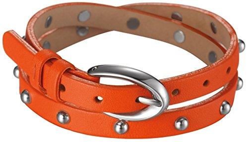 Esprit Damen Armband Edelstahl Leder 38 cm orange ESBR11335F380