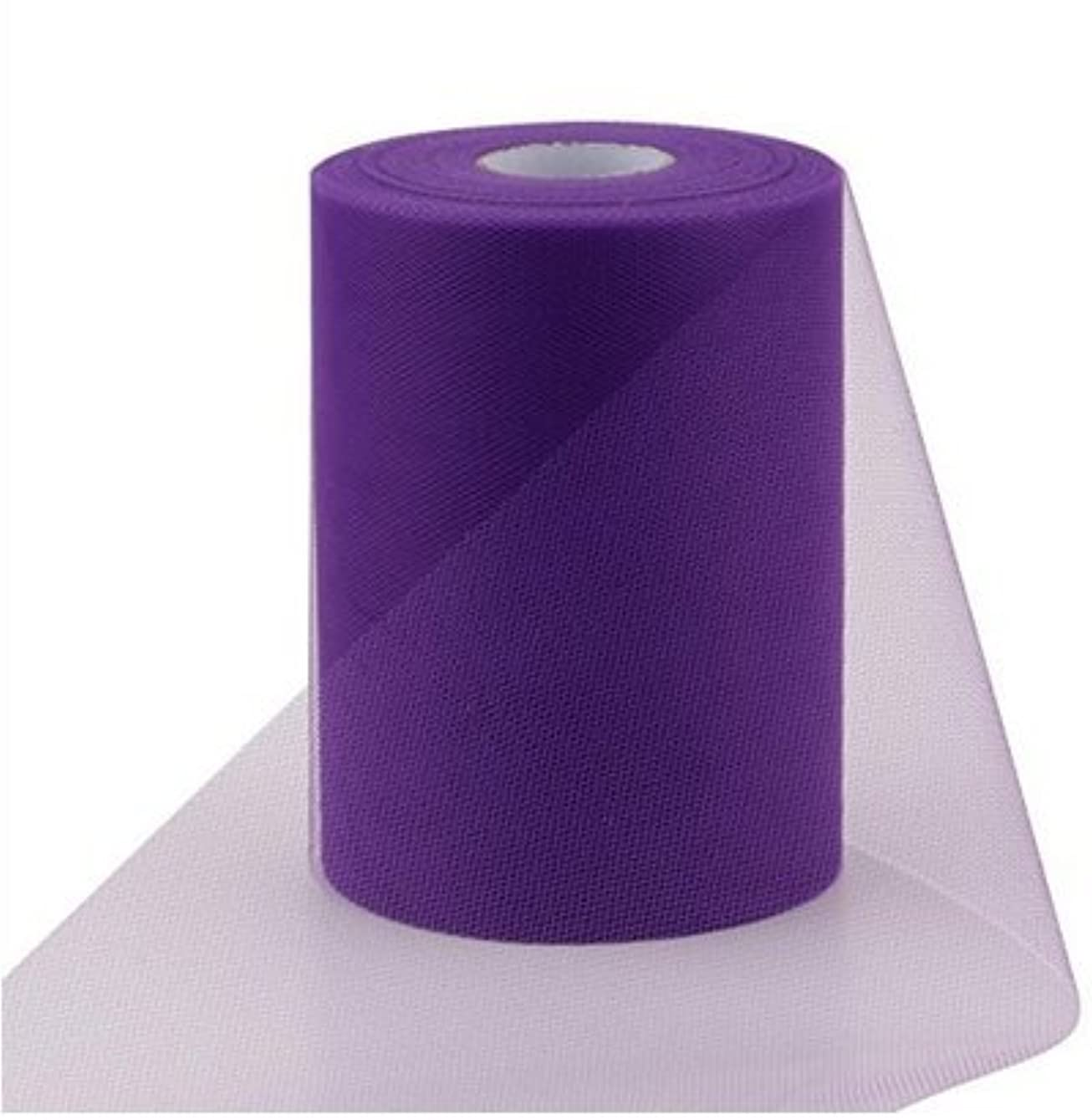 ASIBT 6 Inch x 100 Yards Tulle Roll Spool Fabric Table Runner Chair Sash Bow Tutu Skirt Sewing Crafting Fabric Wedding Party Gift Ribbon (Purple) zkfyff874986
