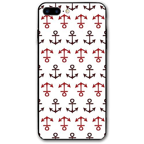 Caso de teléfono náutico, ancla, rojo, marrón, Torras, protector divertido, lindo para iPhone 7/8 Plus casos para mujeres, hombres, novias, novios, regalo P.X.M.E
