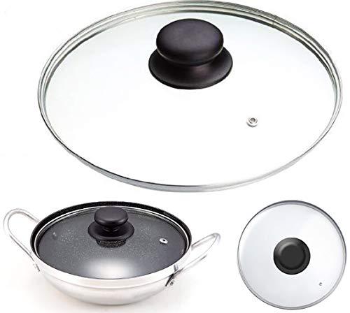 Coperchio di ricambio per pentole, rotondo, ventilato, in vetro temperato, per wok da 14 a 36 cm 14 cm